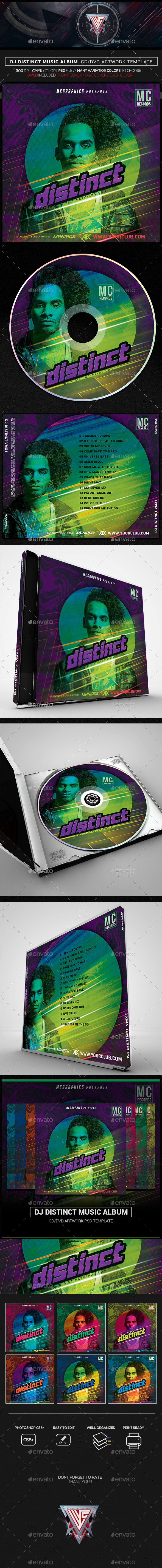 DJ Distinct Album Artwork CD/DVD Template - CD & DVD Artwork Print Templates