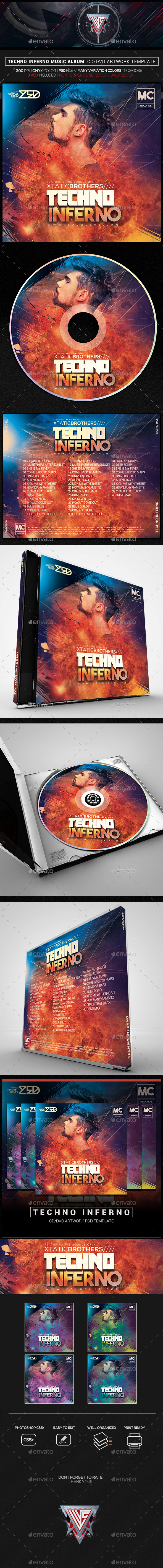 Techno Inferno Music Album CD/DVD Template - CD & DVD Artwork Print Templates