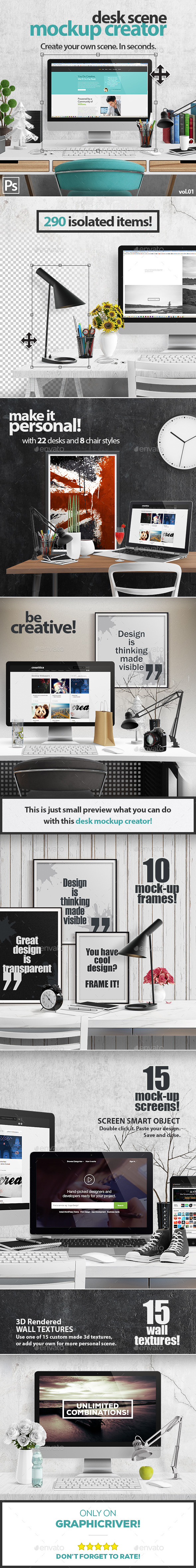 Desk Scene Mock-Up Creator - Hero Images Graphics