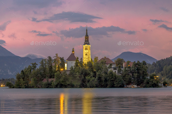 Landscape scene Lake bled with church on island - Stock Photo - Images