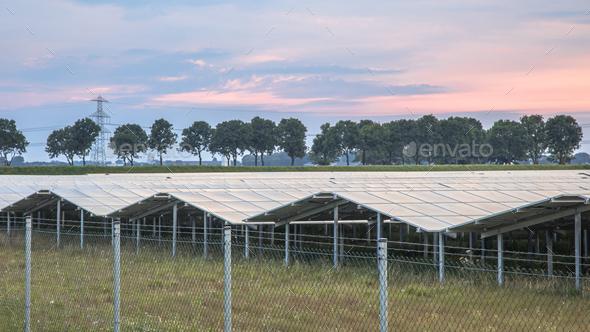 Solar panel field orange sunset sky - Stock Photo - Images