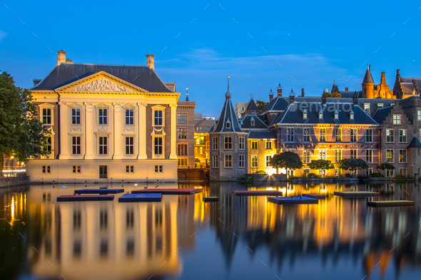 Parliament Binnenhof and Mauritshuis The Hague - Stock Photo - Images