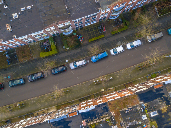 Street with apartments from above - Stock Photo - Images