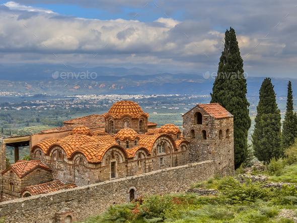 Byzantine monastery in Mystras Peloponnese Greece - Stock Photo - Images