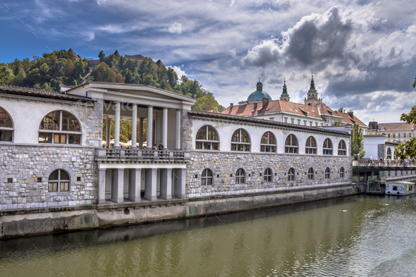 Cityscape view on Ljubljanica river - Stock Photo - Images