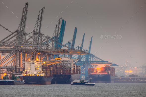 Rotterdam europoort industrial harbor landscape - Stock Photo - Images