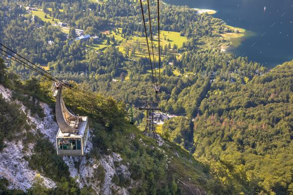 Gondola ski lift in Triglav National Park - Stock Photo - Images