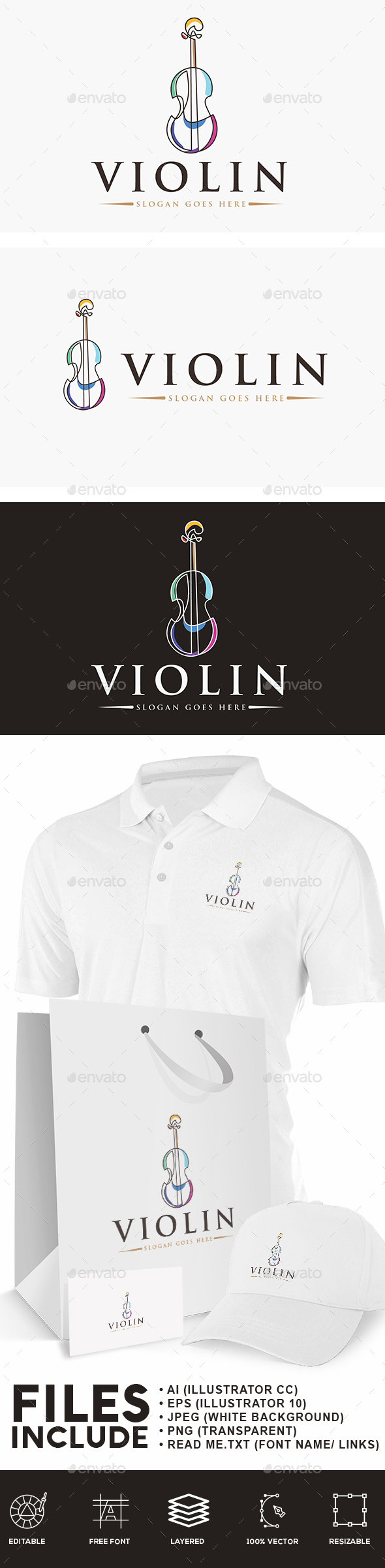 Violin Continuous Line Logo - Objects Logo Templates