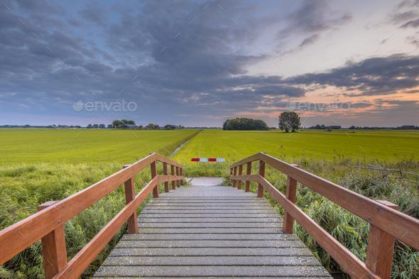 Wooden bridge in agricultural landscape - Stock Photo - Images