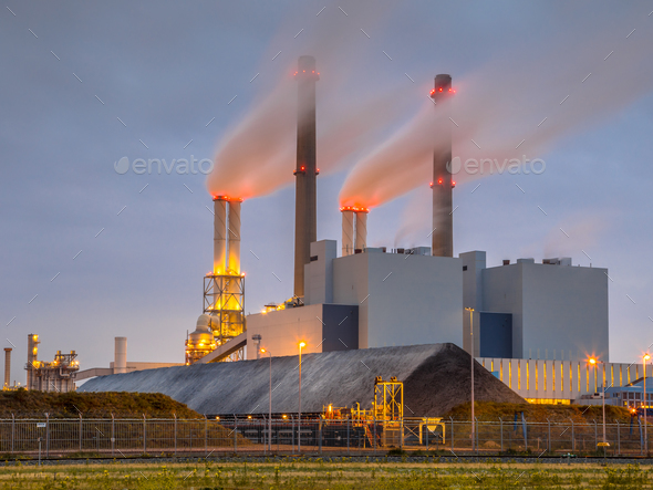 Working Coal powered power plant Rotterdam - Stock Photo - Images