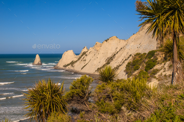 View of Cape Kidnappers New Zealand - Stock Photo - Images