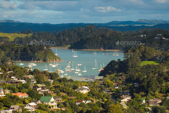 View over Coromandel town - Stock Photo - Images