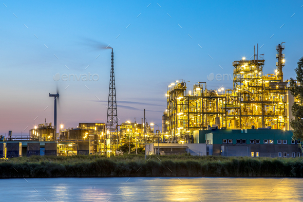 Chemical plant long exposure at dusk - Stock Photo - Images