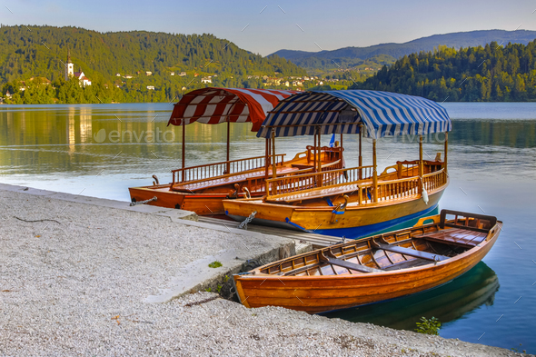Traditional Pletna boats lake Bled - Stock Photo - Images