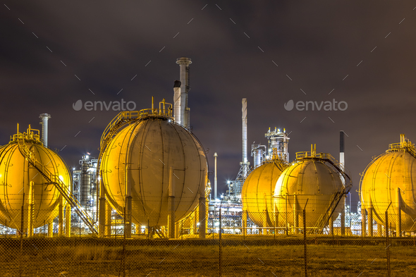 Liquid Natural Gas globe shape containers - Stock Photo - Images