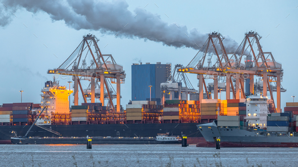 Container ships loading at Port of Rotterdam - Stock Photo - Images