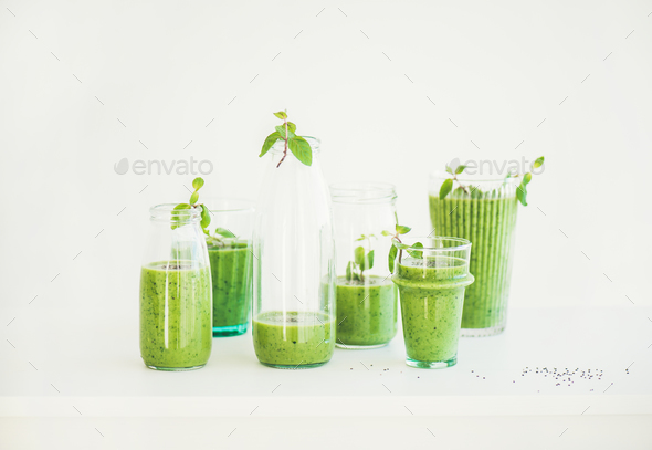 Matcha green vegan smoothie with chia seeds and fresh mint - Stock Photo - Images