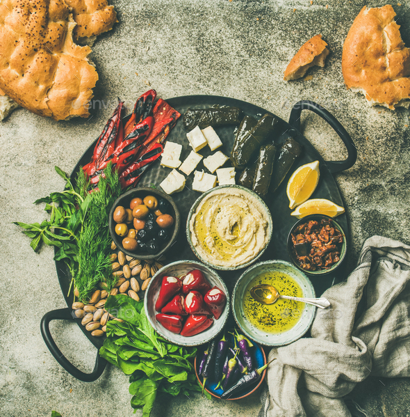 Mediterranean meze starter fingerfood platter, copy space - Stock Photo - Images