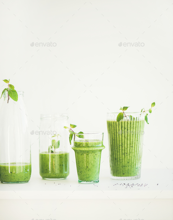 Matcha green smoothie with chia seeds in glasses, copy space - Stock Photo - Images