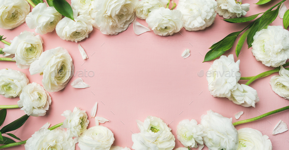 Saint Valentines Day frame or background with ranunculus, wide composition - Stock Photo - Images