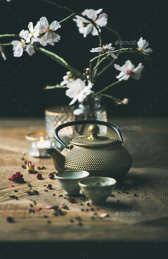 Traditional Asian tea ceremony arrangement over wooden background - Stock Photo - Images