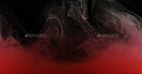 Red Ink Paint in Water Creating Liquid Artistic Shapes - Stock Photo - Images