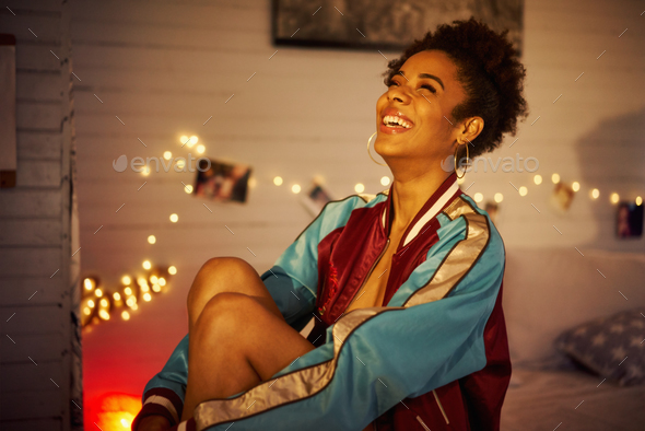 Young Cheerful Black Woman Smiling At Night - Stock Photo - Images