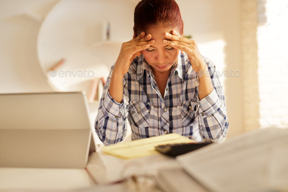 Angry Senior Woman Paying Bills And Filing Federal Tax Return - Stock Photo - Images