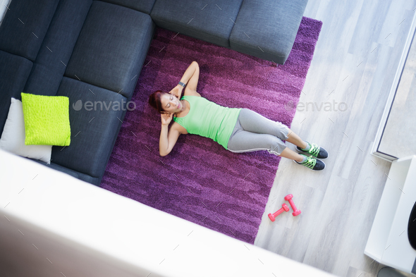 Old Woman Exercising And Doing Sport Activity At Home - Stock Photo - Images