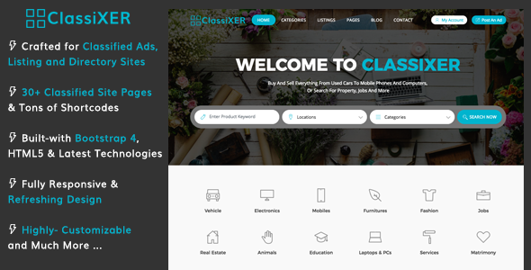 ClassiXER – Classified Ads and Listing Website Template | Bootstrap4
