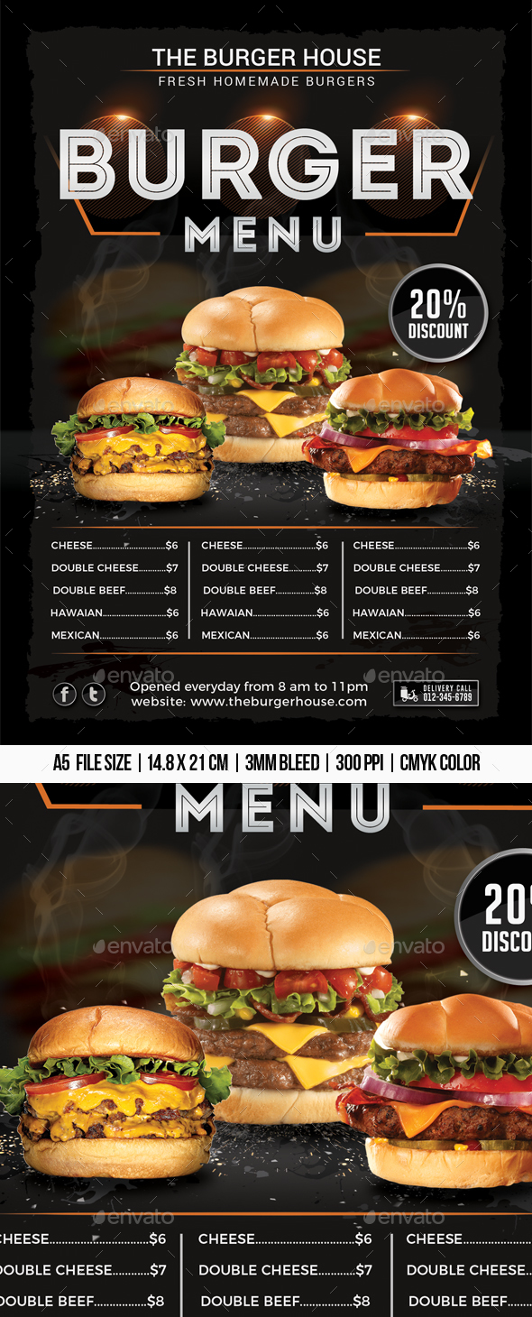 Burger Menu Flyer - Restaurant Flyers