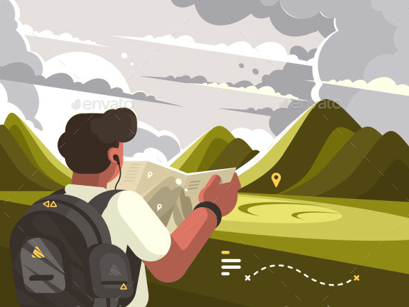 Traveler with Map Planning Route to Mountains - Travel Conceptual