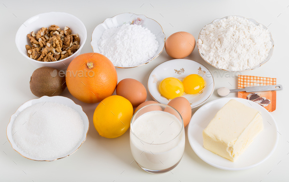 Various ingredients for baking cake. - Stock Photo - Images