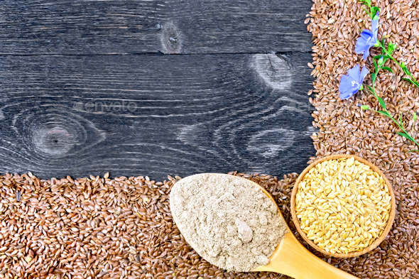 Flour and seeds flax on board - Stock Photo - Images