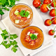 Soup tomato in two glasses on granite table top - PhotoDune Item for Sale