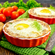 Tartlet meat with egg in pan on board - PhotoDune Item for Sale