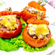 Tomatoes stuffed with meat and rice with lettuce in plate on board - PhotoDune Item for Sale