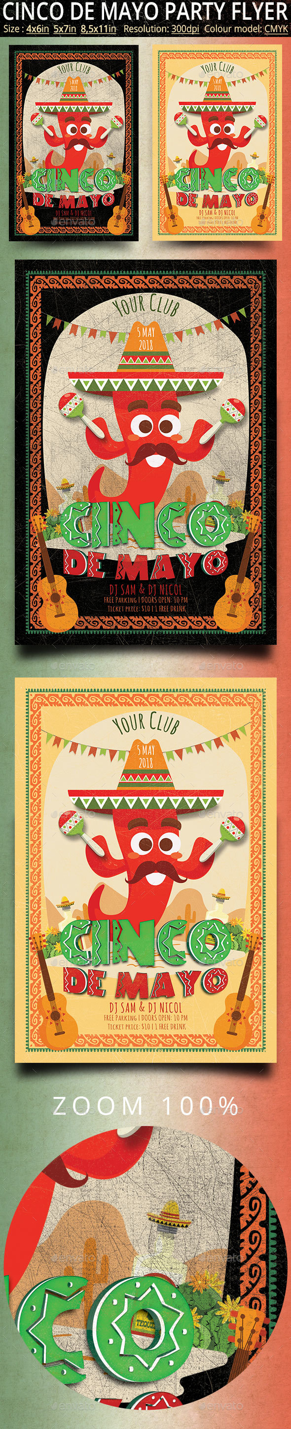 Cinco de Mayo Vintage Flyer And Poster - Events Flyers