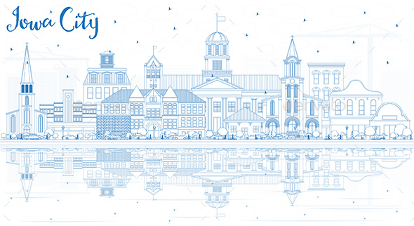 Outline Iowa City Skyline with Blue Buildings and Reflections - Buildings Objects