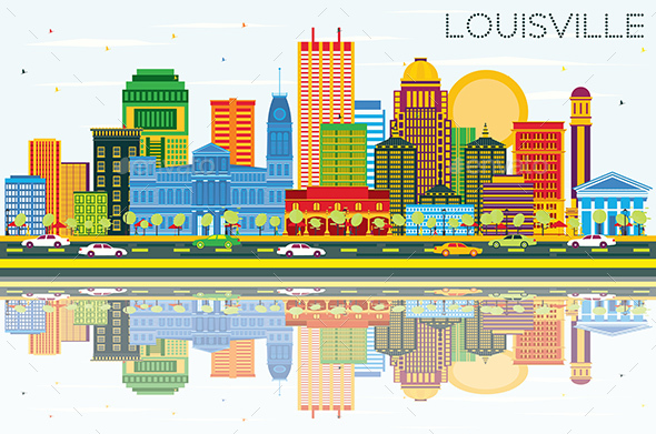 Louisville Kentucky USA City Skyline with Color Buildings - Buildings Objects
