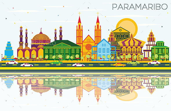Paramaribo Suriname City Skyline with Color Buildings - Buildings Objects