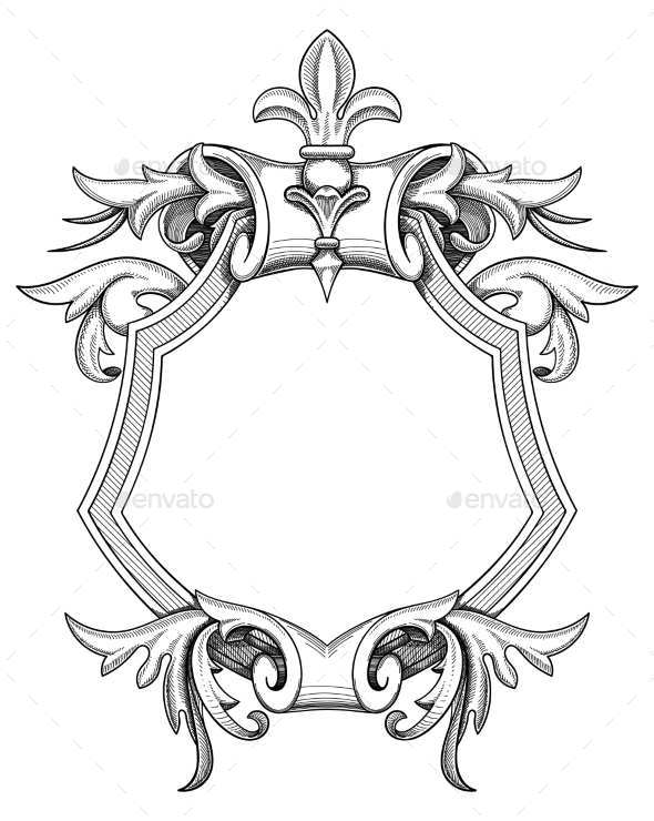 Baroque Shield Drawing - Borders Decorative