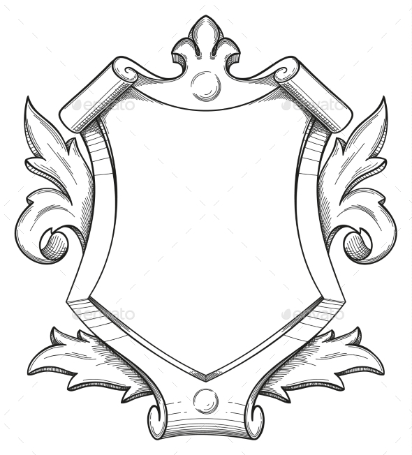 Baroque Shield Drawing - Miscellaneous Vectors