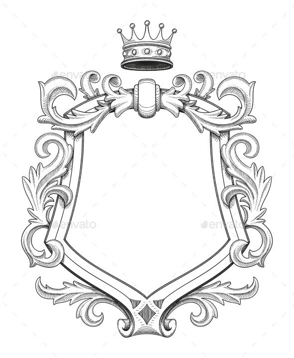Baroque Shield Drawing - Borders Decorative
