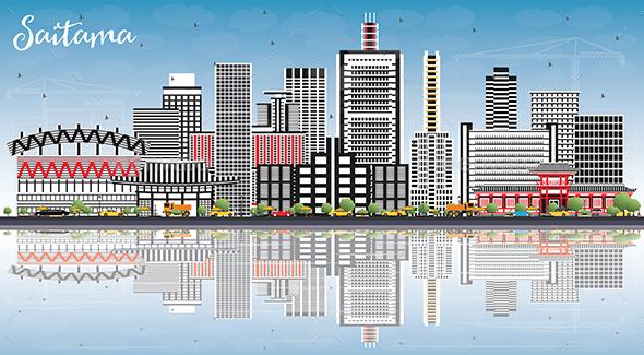 Saitama Japan City Skyline with Color Buildings - Buildings Objects