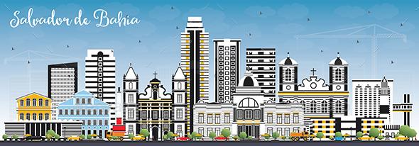 Salvador de Bahia City Skyline with Color Buildings and Blue Sky - Buildings Objects