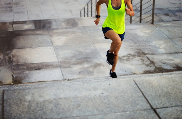 Running on city steps - Stock Photo - Images