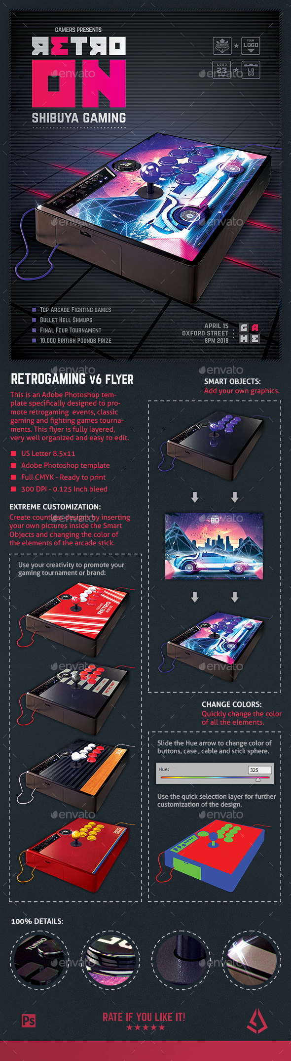 Retro Gaming Flyer v6 - Arcade Stick Mockup Template - Miscellaneous Events
