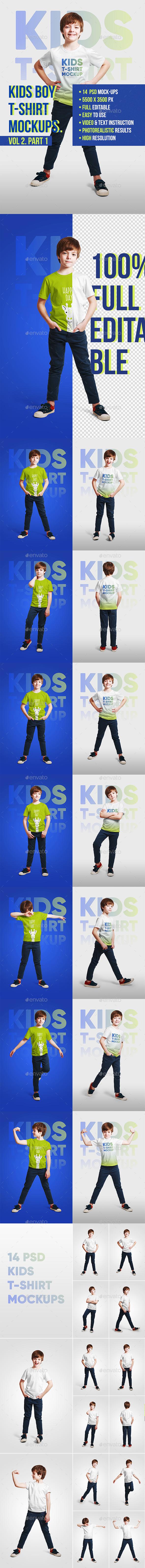 Kids Boy T-Shirt Mockups Vol2. Part 1 - T-shirts Apparel