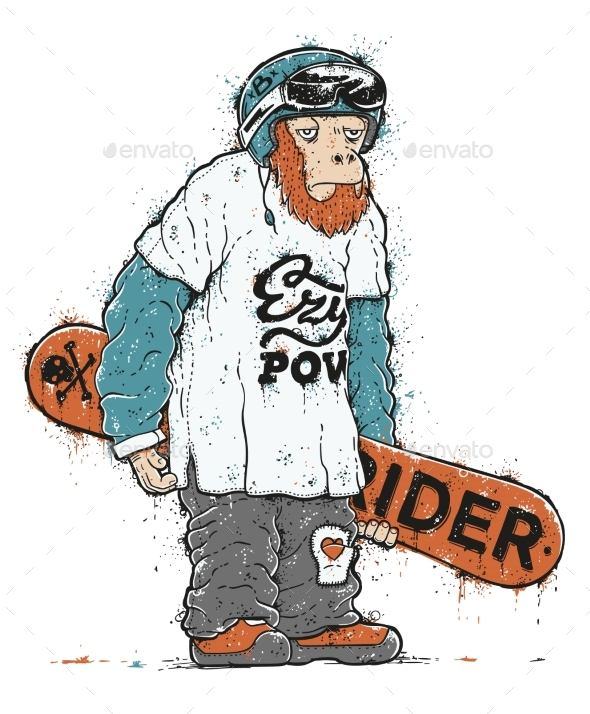 Snowboarder Monkey Character - Sports/Activity Conceptual
